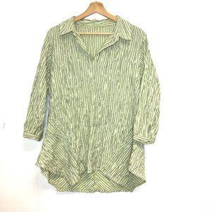 Cut Loose asymmetrical popover lagenlook top green